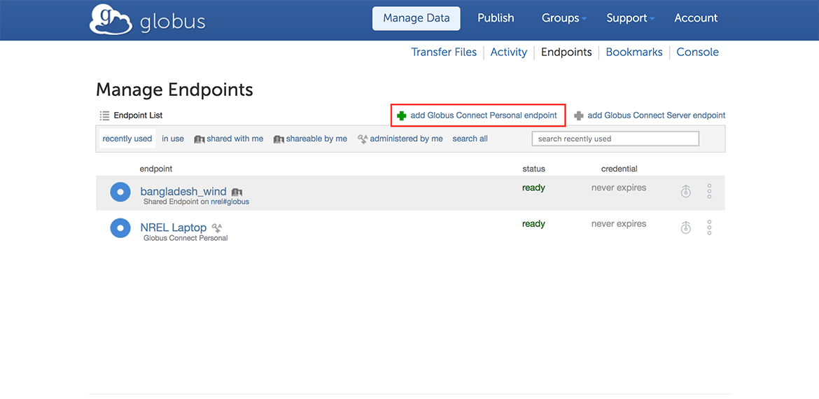 The 'add Globus Connect Personal endpoint' button on the Manage Endpoints page above the Endpoint List.